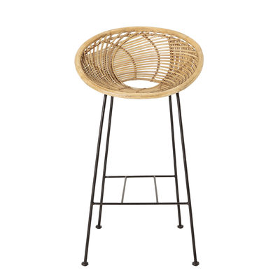 Furniture - Bar Stools - Yonne Bar chair - / Rattan - H 72 cm by Bloomingville - Natural / Black legs - Lacquered iron, Rattan
