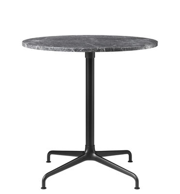 Furniture - Dining Tables - Beetle Round table - / Gamfratesi - Ø 70 cm by Gubi - Grey marble / Black & aluminium foot - Lacquered aluminium, Marble, Polished aluminium