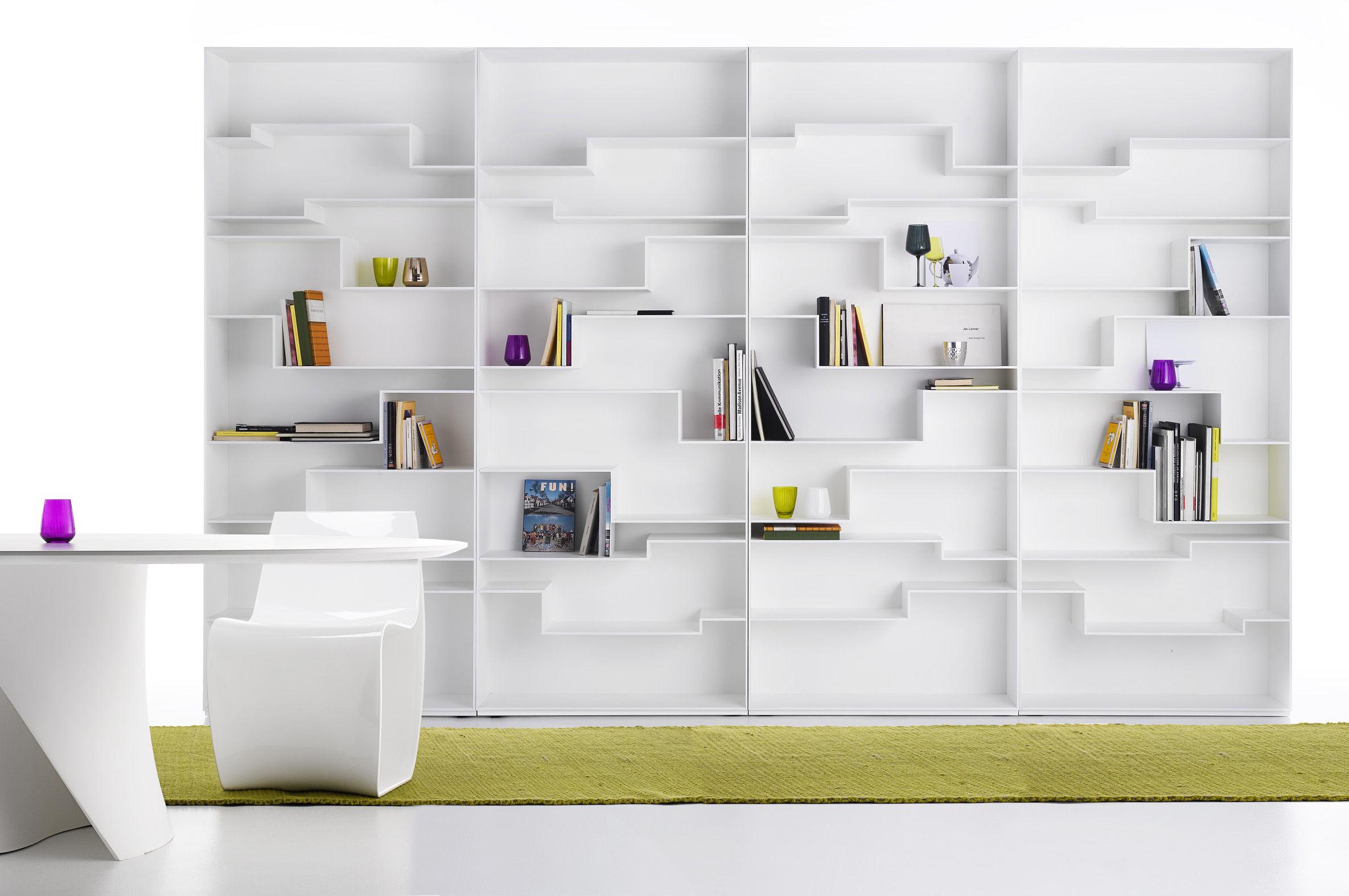 biblioth que melody mdf italia blanc laqu l 88 made. Black Bedroom Furniture Sets. Home Design Ideas