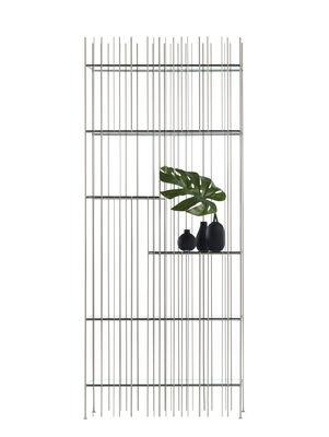 Bibliothèque Metrica A / 78 x 190 cm - Acier & verre - Mogg vert transparent,titane brillant en métal