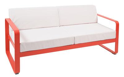 Canapé droit Bellevie 2 places / L 160 cm - Tissu blanc - Fermob blanc,capucine en métal