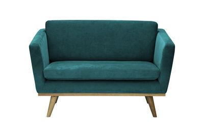 Mobilier - Canapés - Canapé droit / L 120 cm - Velours - RED Edition - Bleu Canard / Chêne - Chêne massif, Coton, Mousse haute résilience