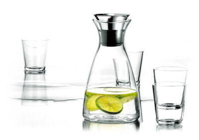 Tableware - Water Carafes & Wine Decanters - Stoppe-goutte Carafe - Set 1 Stoppe-goutte carafe + 4 glasses by Eva Solo - Transparent - Glass, Silicone, Stainless steel