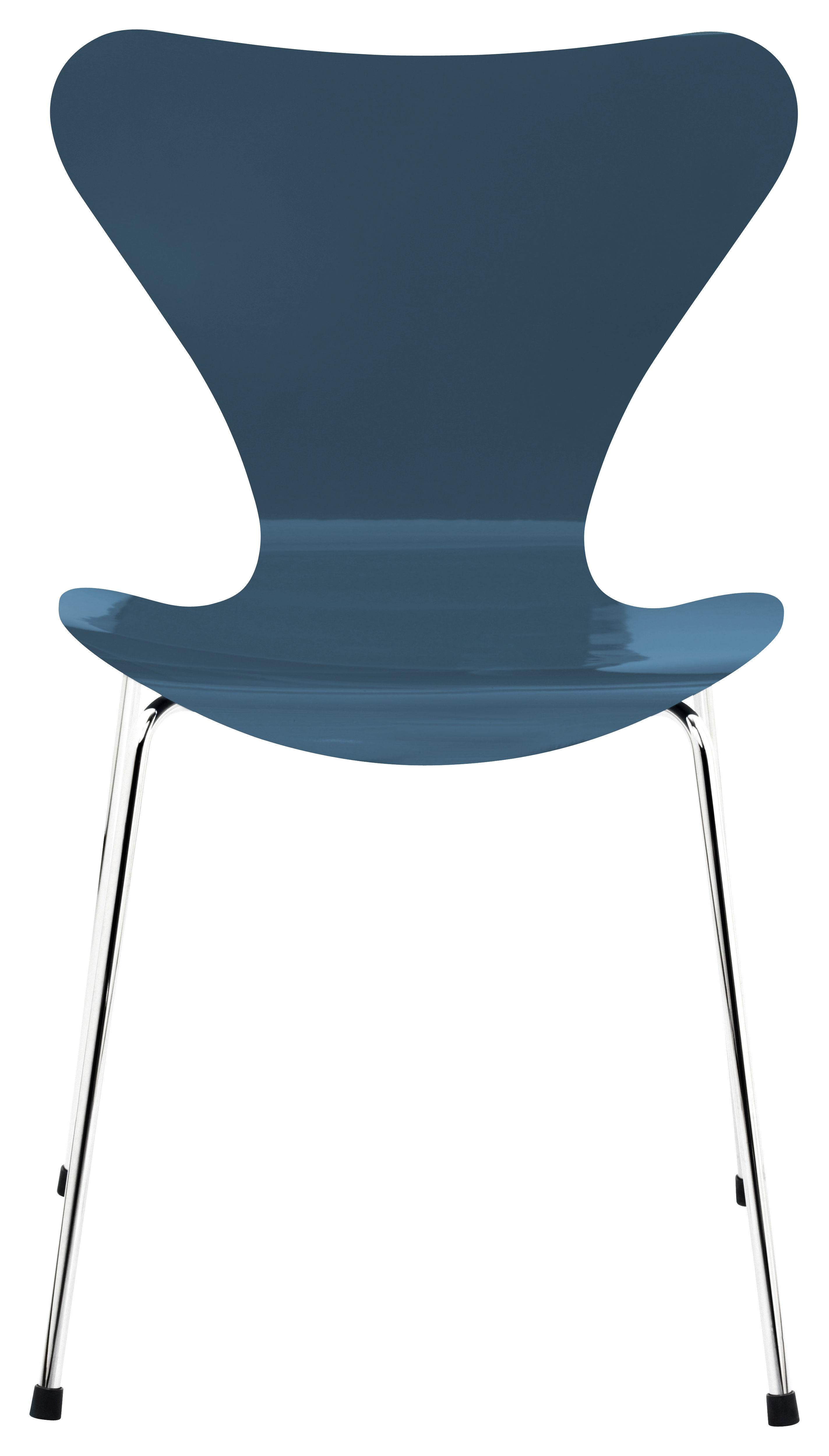 chaise empilable s rie 7 bois laqu bleu p trole pieds chrom s fritz hansen. Black Bedroom Furniture Sets. Home Design Ideas