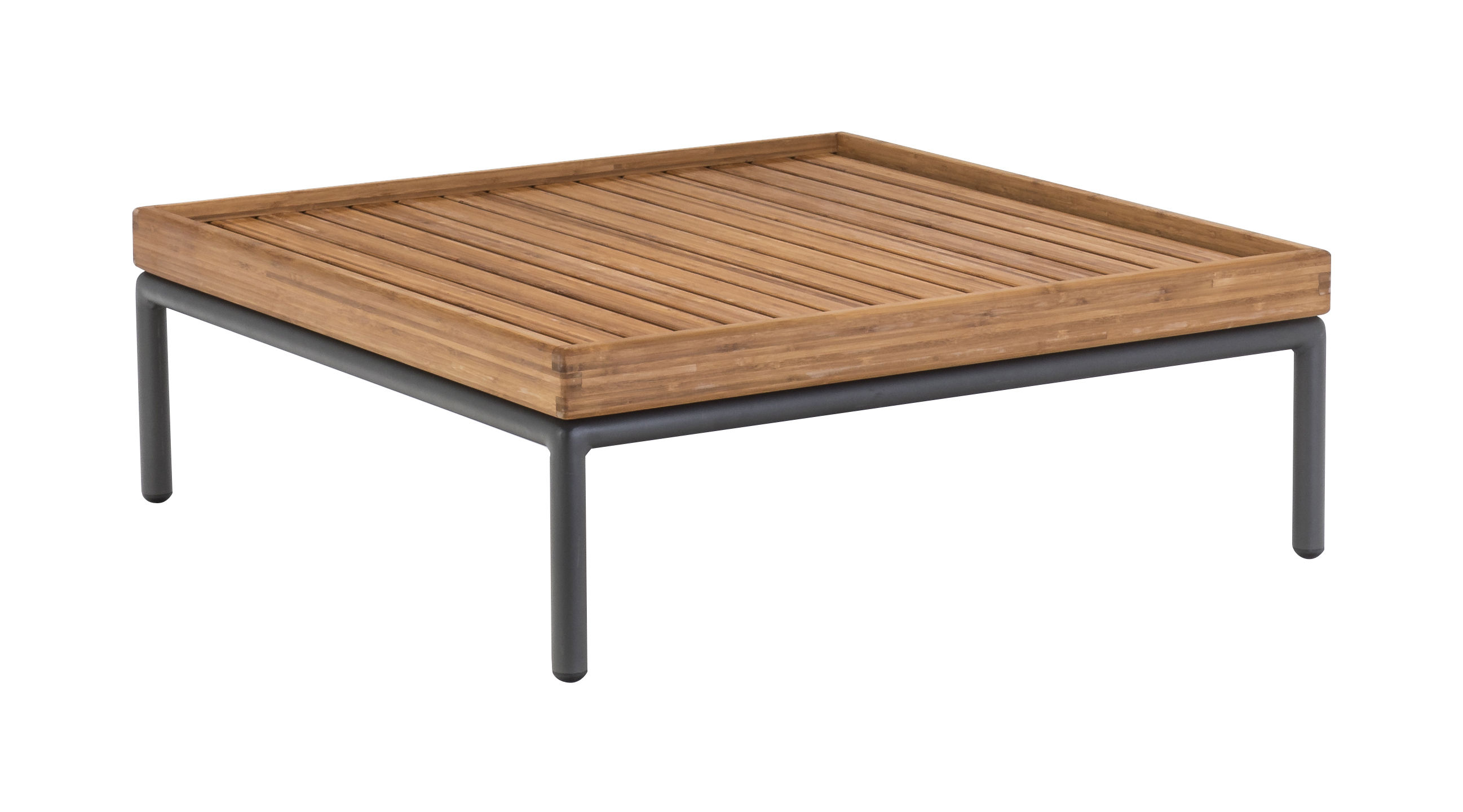 Furniture - Coffee Tables - Level Coffee table - 81 x 81 cm / Bamboo by Houe - Bamboo / Grey legs - Bamboo, Powder coated aluminium