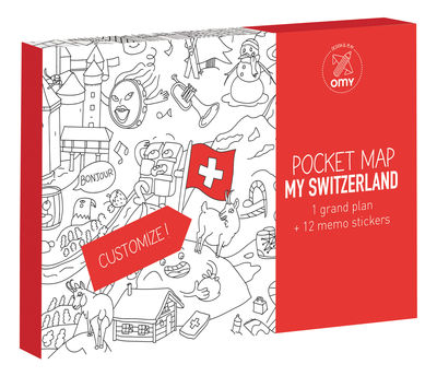 Decoration - Children's Home Accessories - Pocket Map - Suisse Colouring poster - Switzerland by OMY Design & Play - Switzerland / Black & White - Paper