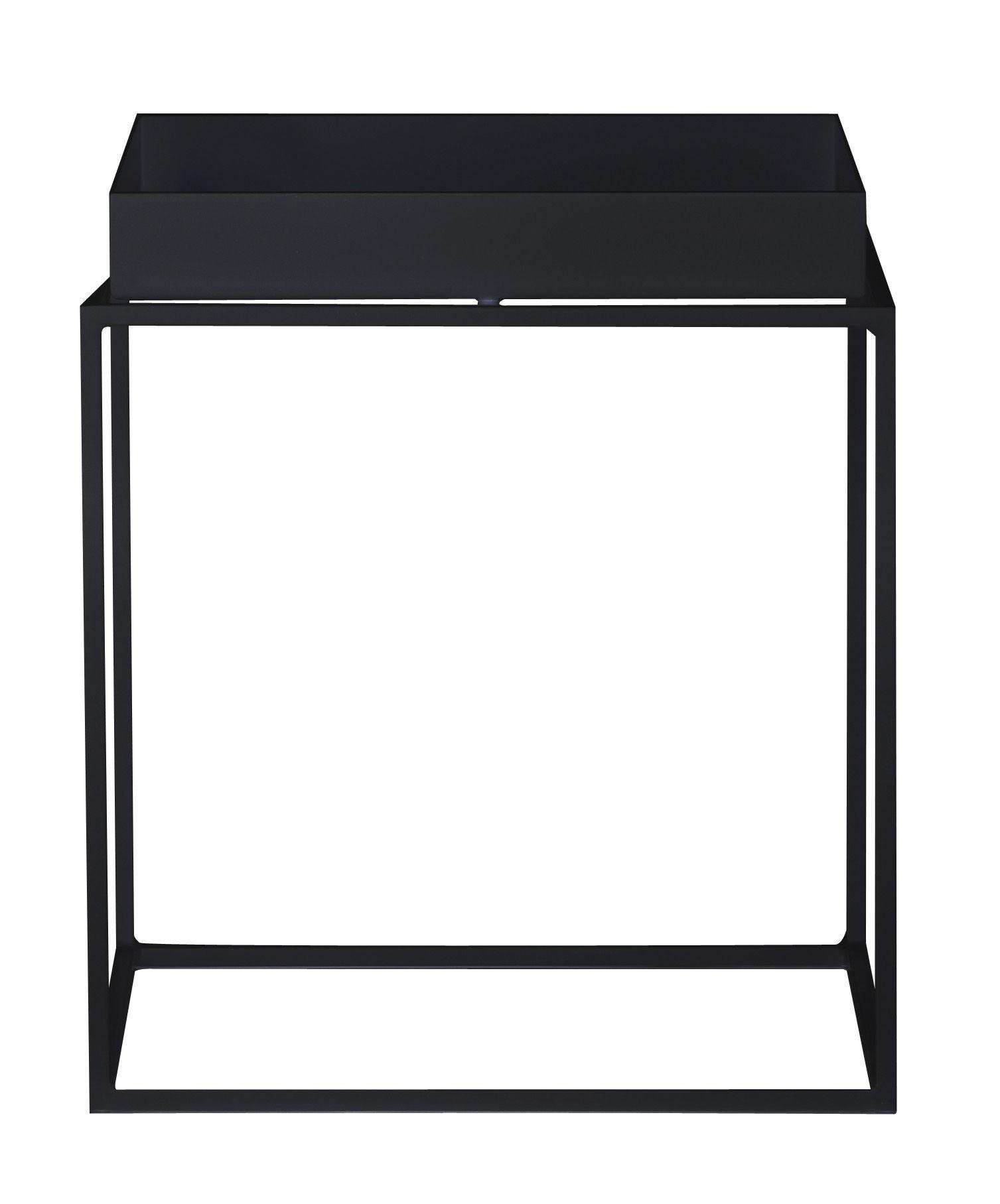 Möbel - Couchtische - Tray Couchtisch H 40 cm - 40 x 40 cm - Hay - Schwarz - lackierter Stahl