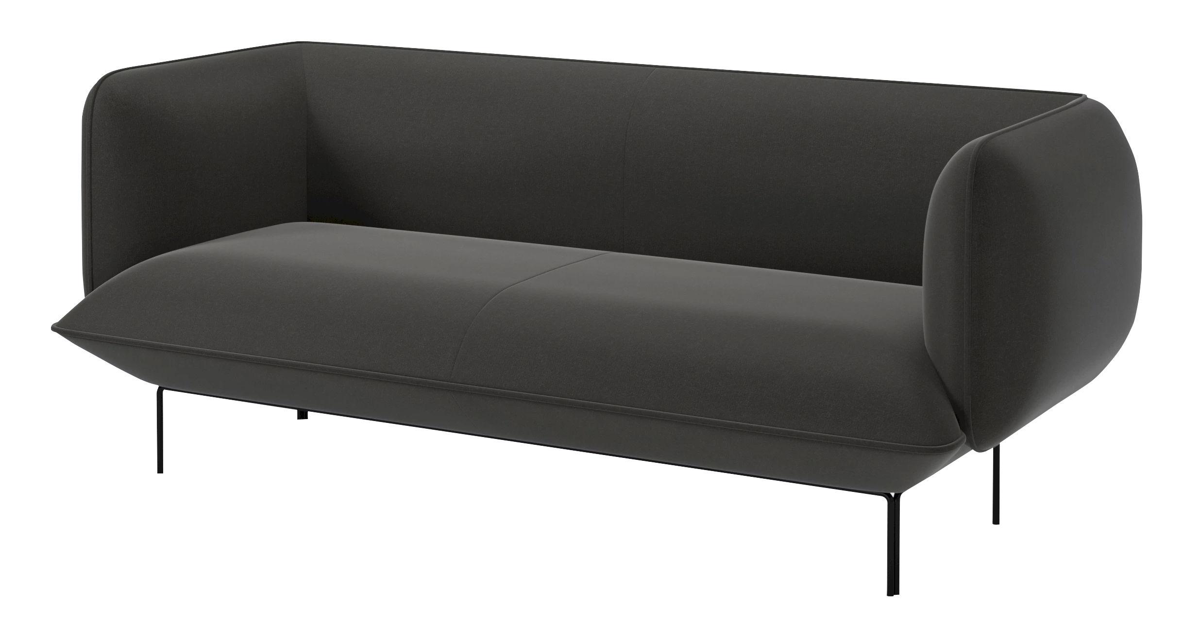 Arredamento - Divani moderni - Divano destro Cloud - 2½ posti / L 192 cm - Velluto di Bolia - Velluto / Grigio scuro - Acciaio laccato, Espanso, Velluto