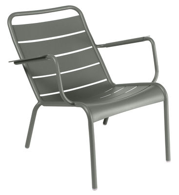 Fauteuil bas Luxembourg / Aluminium - Fermob vert/gris en métal
