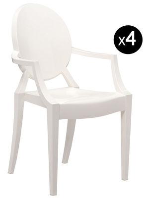 Fauteuil empilable Louis Ghost / Lot de 4 - Kartell blanc opaque en matière plastique