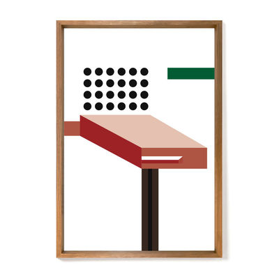 Decoration - Wallpaper & Wall Stickers - Nathalie du Pasquier - Crayfish Framed poster - / Limited, numbered edition - 72,2 x 92,2 cm by The Wrong Shop - Crayfish / Multicoloured & oak frame - Oak, Plexiglass, Premium paper