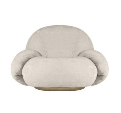Möbel - Lounge Sessel - Pacha - Avec accoudoirs Gepolsterter Sessel / Pierre Paulin, Neuauflage 1975 - Gubi - Weiß (Stoff Karakoum 001) / Basis Gold - Furnier, mitteldichte bemalte Holzfaserplatte, Schaumstoff, Schlingenpol