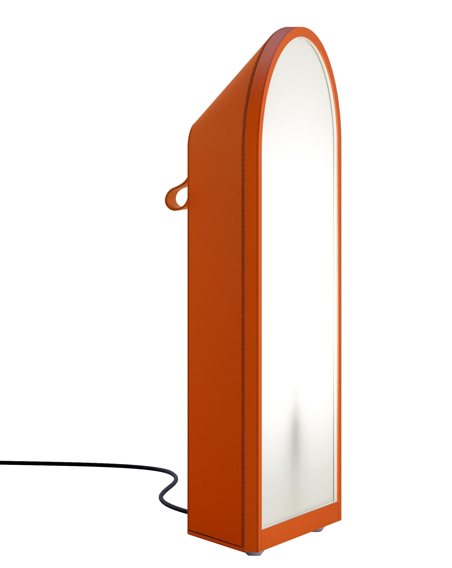 Illuminazione - Lampade da tavolo - Lampada da posa Odeon - / H 64 cm - In cuoio di Fontana Arte - Arancione / Cuciture nere - Pelle, policarbonato