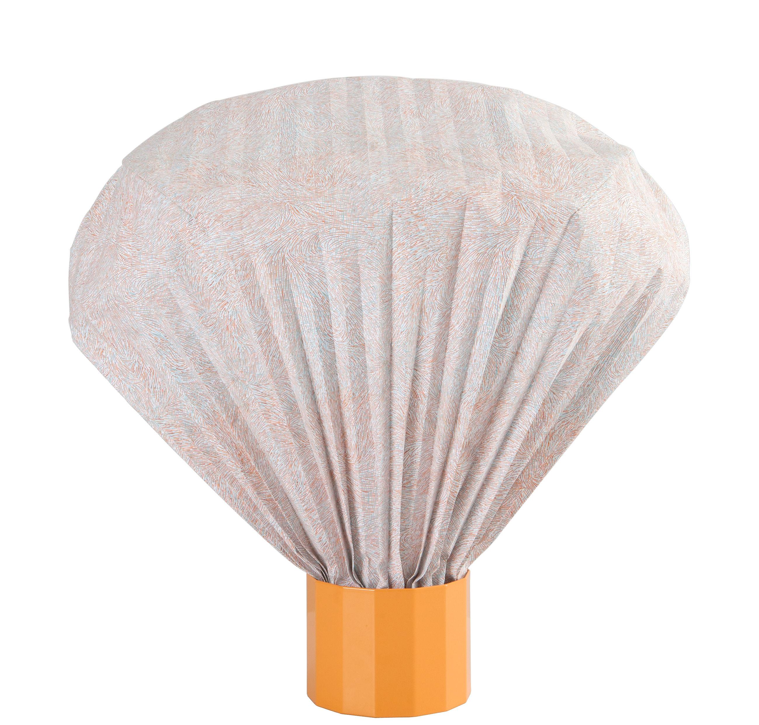 Luminaire - Lampes de table - Lampe de table Coloured Vaporetto / H 36 cm - Moustache - Base orange / Diffuseur corail & bleu - Métal laqué, Papier Tyvek