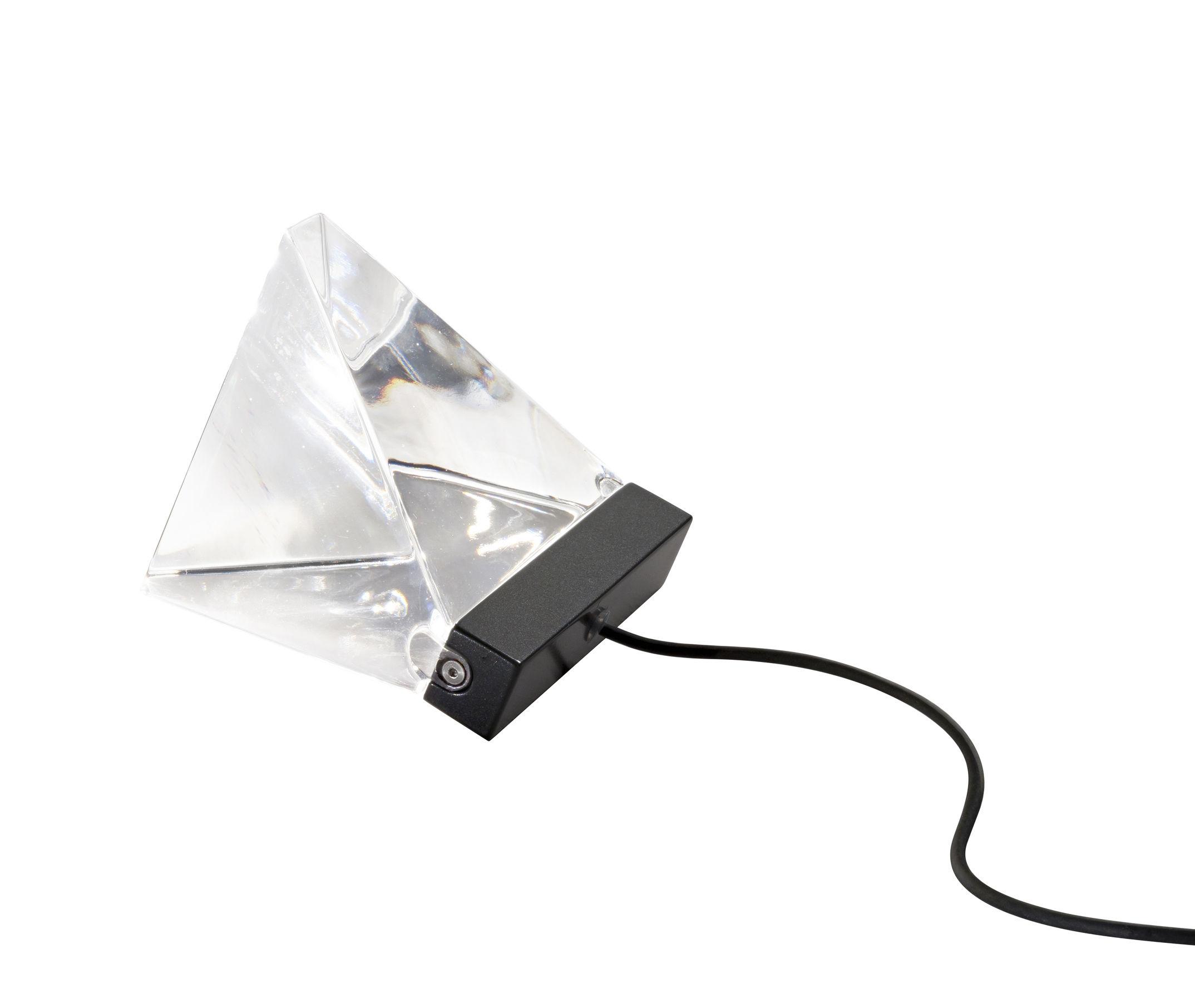 Luminaire - Lampes de table - Lampe de table Tripla LED / Cristal - Fabbian - Anthracite / Transparent - Aluminium peint, Cristal