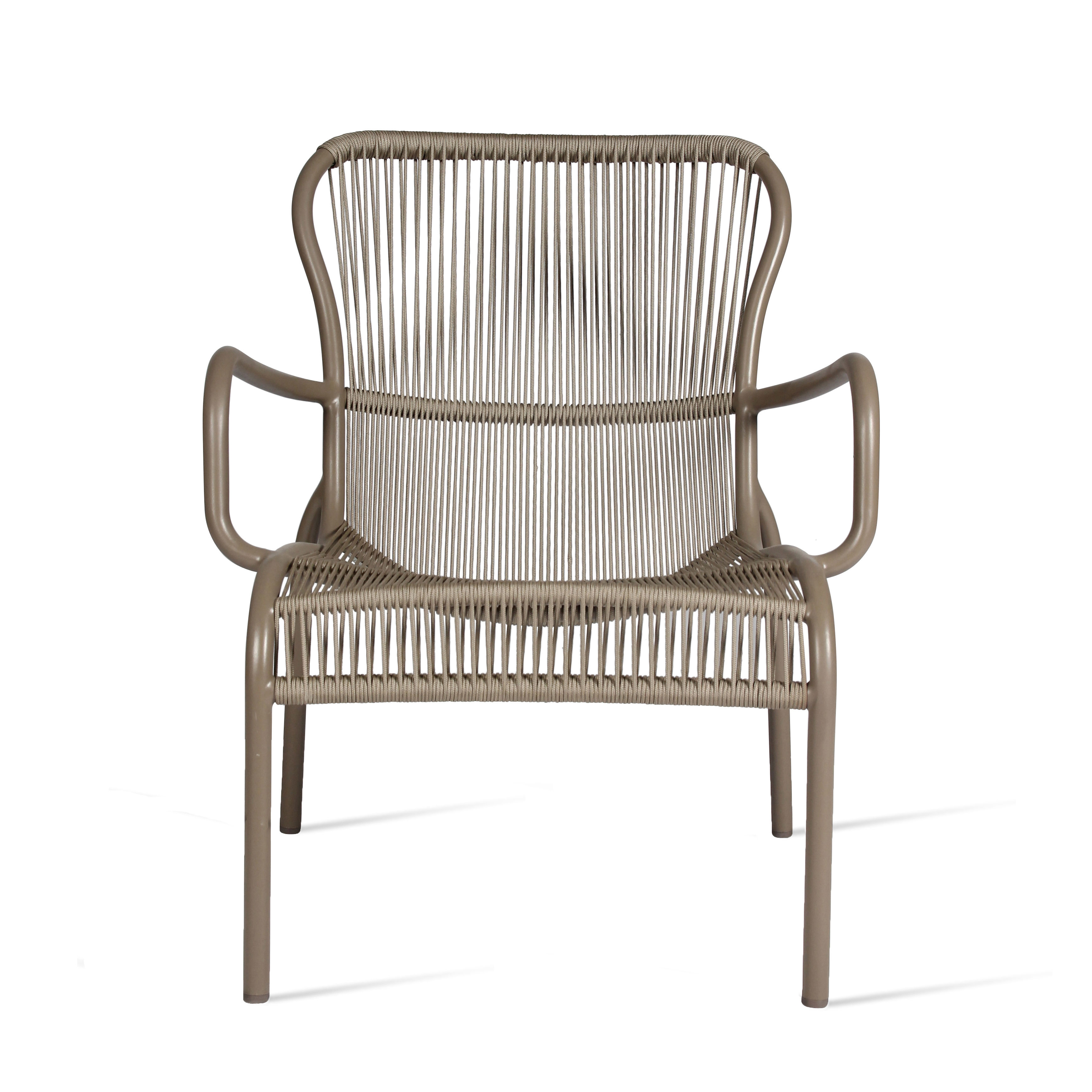 Furniture - Armchairs - Loop Lounge Rope Low armchair - / Stackable - Hand-woven polypropylene cord by Vincent Sheppard - Taupe - Polypropylene rope, Thermolacquered aluminium
