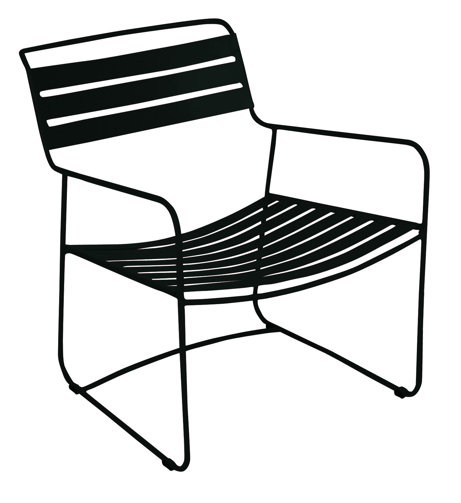 Furniture - Armchairs - Surprising Lounger Low armchair - Armchair by Fermob - Liquorice - Steel
