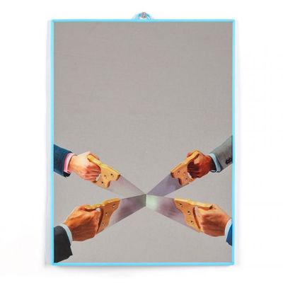 Déco - Miroirs - Miroir Toiletpaper / Saws - Medium H 30 cm - Seletti - Saws / cadre bleu - Matière plastique, Verre sérigraphié