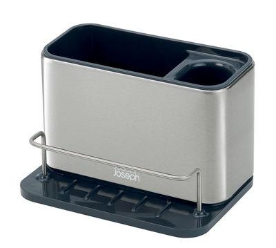 Cuisine - Vaisselle et nettoyage - Organiseur d'évier Surface Large / Acier - L 18 cm - Joseph Joseph - Large / Acier & noir - Acier inoxydable, Matière plastique