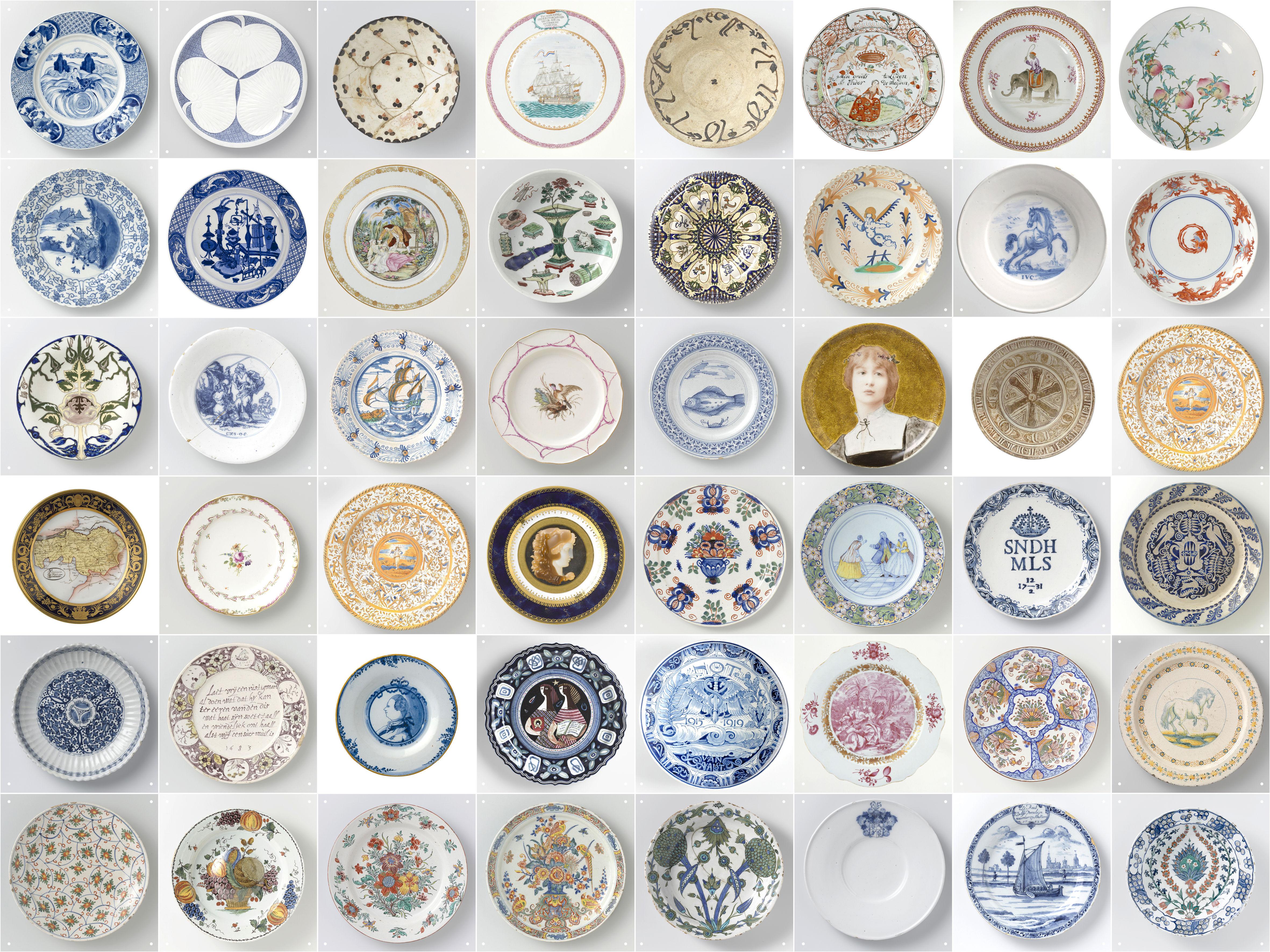 Déco - Objets déco et cadres-photos - Panneau décoratif Assiettes Rijksmuseum / 2 m² - ixxi - Multicolore / Assiettes - Papier synthétique