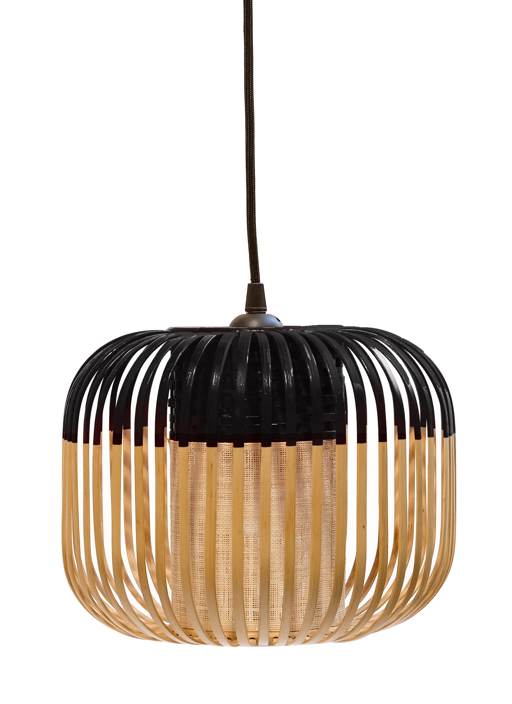 Lighting - Pendant Lighting - Bamboo Light XS Pendant - H 20 x Ø 27 cm by Forestier - Black / Natural - Fabric, Metal, Natural bamboo
