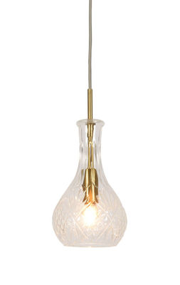 Lighting - Pendant Lighting - Brussels Pendant - Drop / Ø 14 x H 30 cm by It's about Romi - Transparent & gold - Engraved glass, Iron