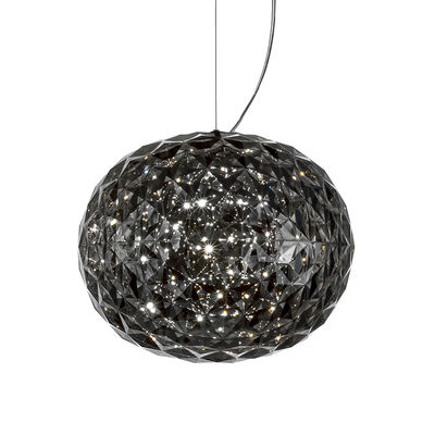 Lighting - Pendant Lighting - Planet Pendant - LED - Ø 33 cm by Kartell - Smoked grey - Thermoplastic technopolymer