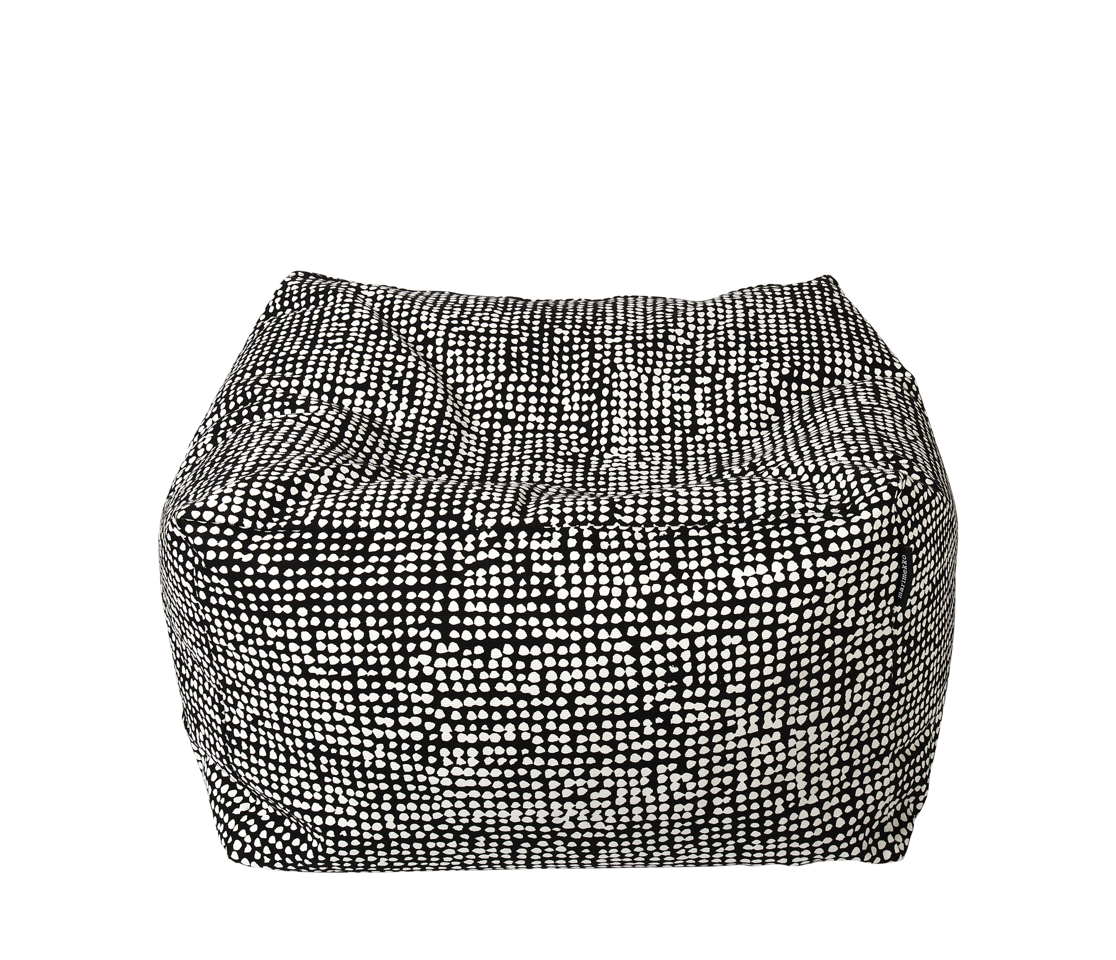 Furniture - Poufs & Floor Cushions - Orkanen Pouf - / 55 x 55 cm by Marimekko - Orkanen / Black & white - Billes de polystyrène expansé, Coton épais