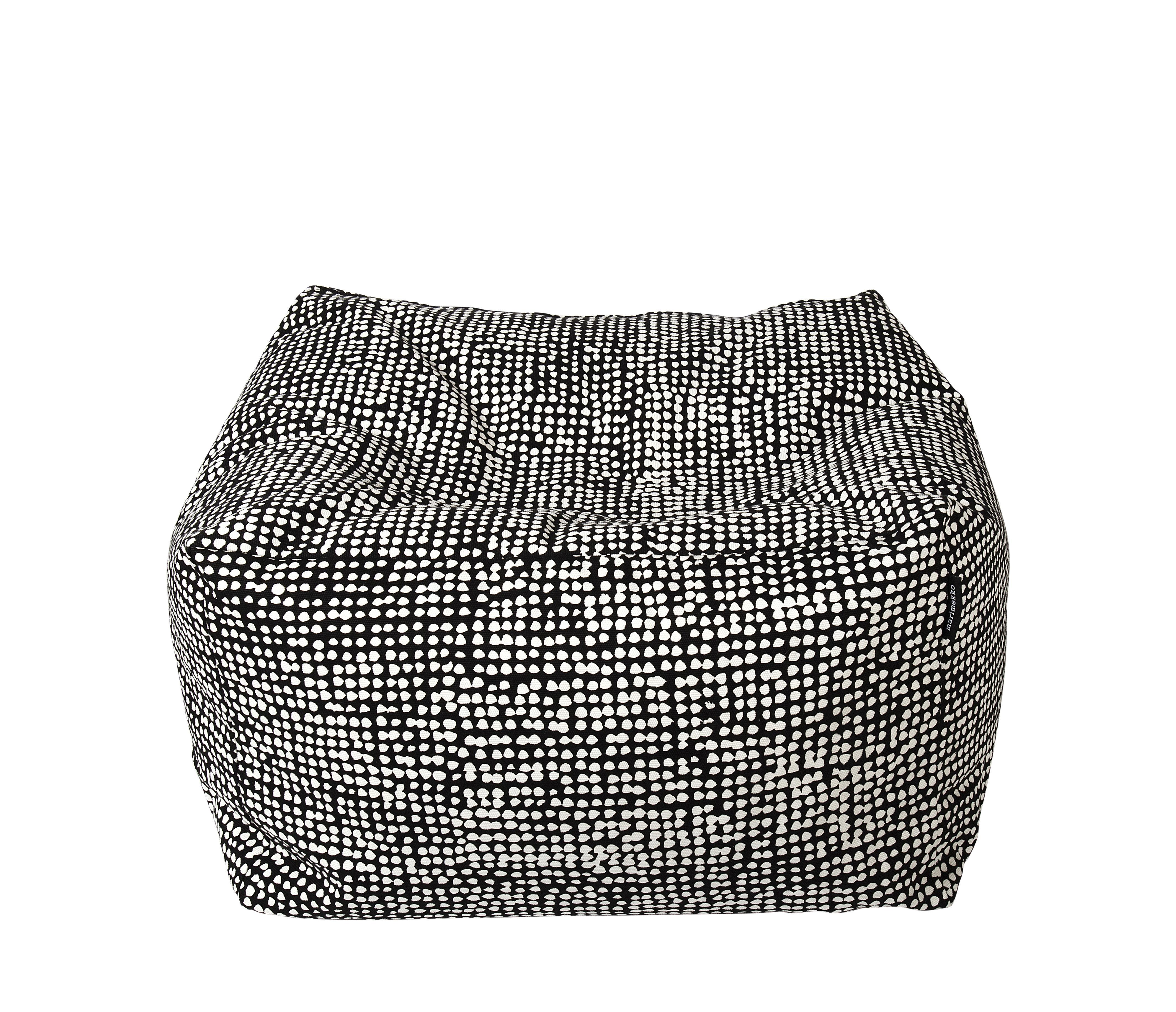 Mobilier - Poufs - Pouf Orkanen / 55 x 55 cm - Marimekko - Orkanen / Noir & blanc - Billes de polystyrène expansé, Coton épais