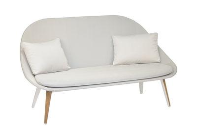 Sofa 2 places Vanity / Rembourré - Tissu & teck - Vlaemynck blanc,gris clair,teck en tissu