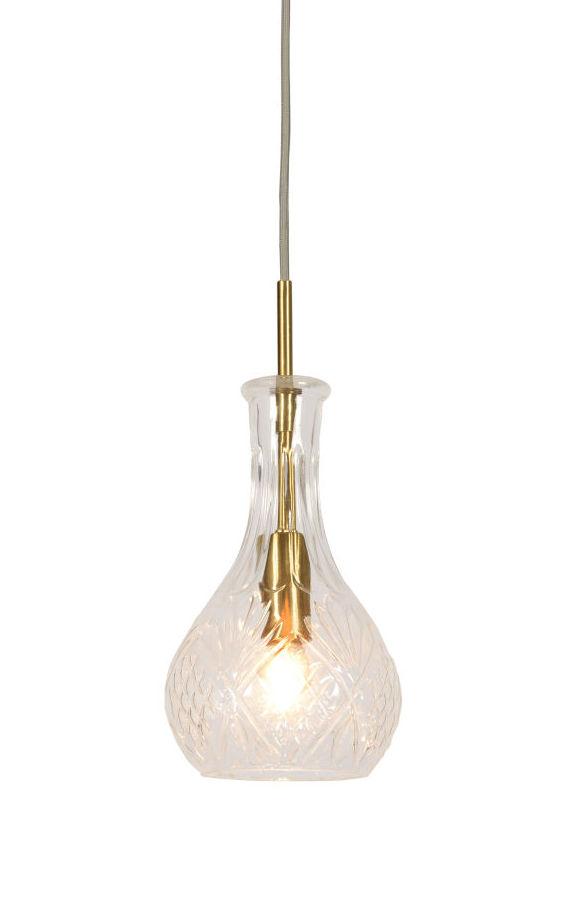 Illuminazione - Lampadari - Sospensione Brussels - Goccia / Ø 14 x H 30 cm di It's about Romi - Transparent & or - Ferro, Verre ciselé
