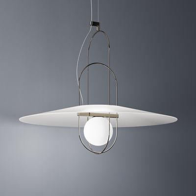Illuminazione - Lampadari - Sospensione Setareh - / LED - Ø 85 x H 70 cm di Fontana Arte - Cromato & bianco - Metallo, Vetro soffiato a bocca