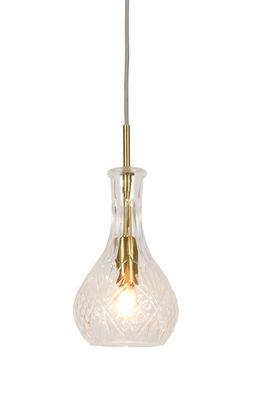 Luminaire - Suspensions - Suspension Brussels Goutte / Ø 14 x H 30 cm - It's about Romi - Transparent & or - Fer, Verre ciselé