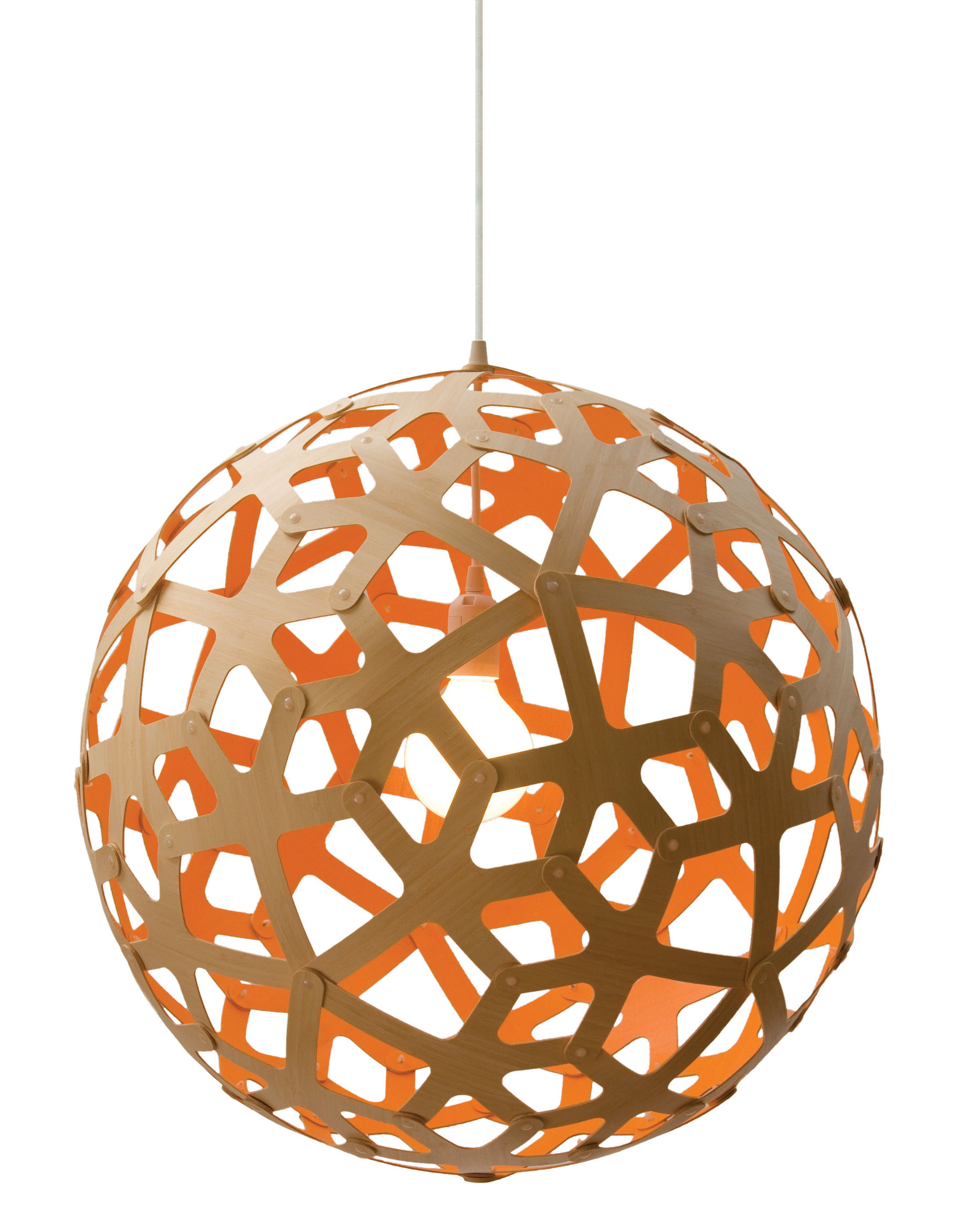 Luminaire - Suspensions - Suspension Coral / Ø 40 cm - Bicolore orange & bois - David Trubridge - Orange / bois naturel - Pin
