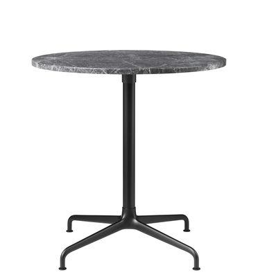 Mobilier - Tables - Table Beetle / Gamfratesi - Ø 70 cm - Gubi - Marbre gris / Pied noir & alu - Aluminium laqué, Aluminium poli, Marbre