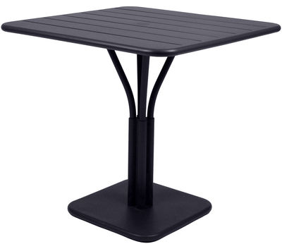 Table carrée Luxembourg / 80 x 80 cm - Pied central - Aluminium - Fermob carbone en métal
