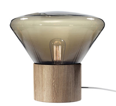 Lighting - Table Lamps - Medium Table lamp by Brokis - Smoked brown glass - Blown glass, Oak