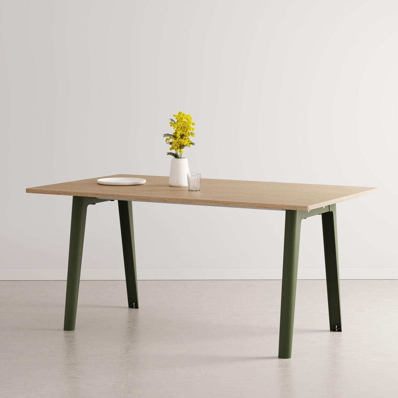 Table rectangulaire New Modern / 160 x 95 cm - Chêne éco-certifié / 6 à 8 personnes - TIPTOE vert en métal/bois
