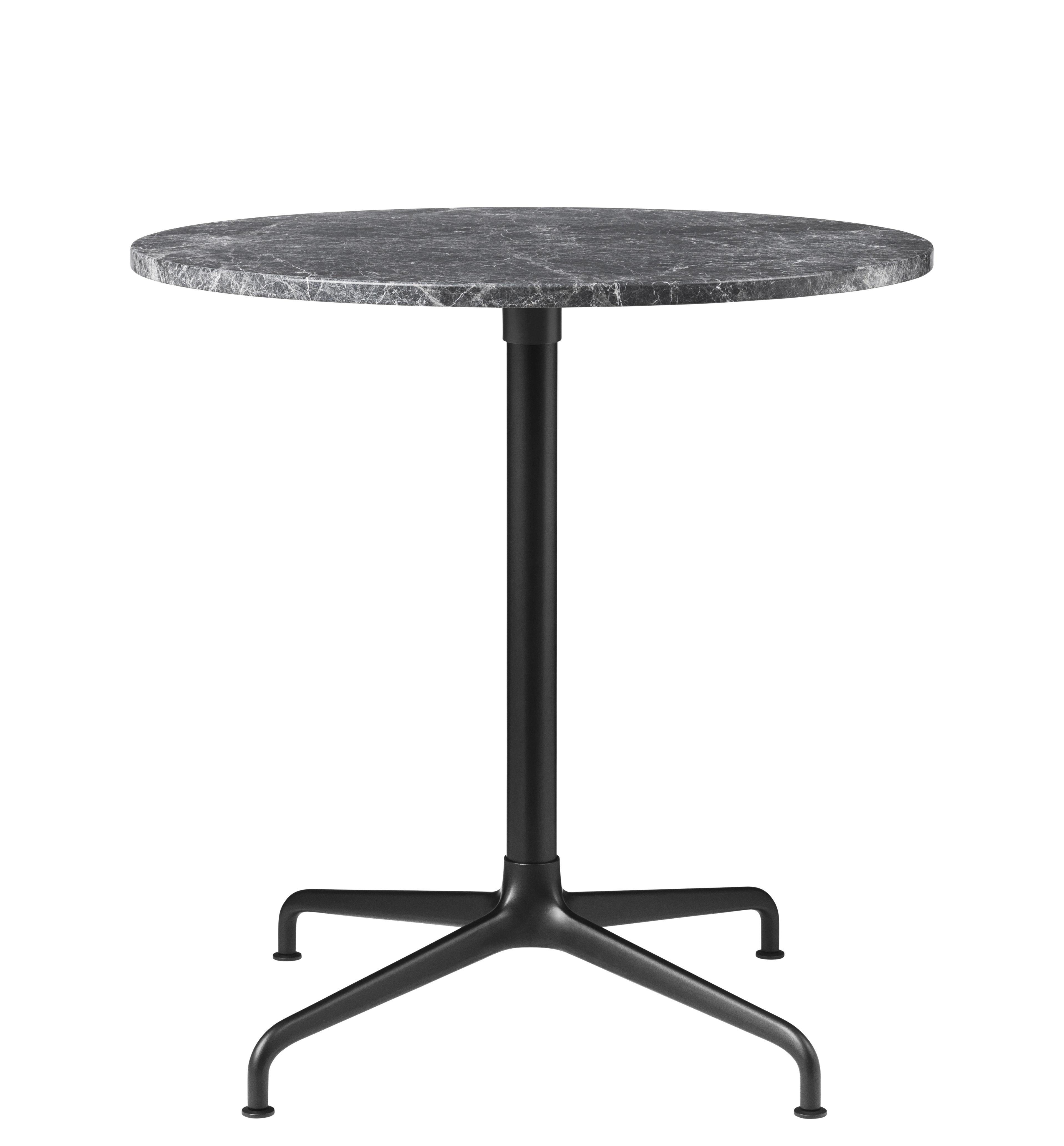 Mobilier - Tables - Table ronde Beetle / Gamfratesi - Ø 70 cm - Gubi - Marbre gris / Pied noir & alu - Aluminium laqué, Aluminium poli, Marbre