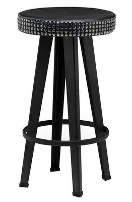 Tabouret de bar Bar Stud / H 63 cm - Assise rembourrée cuir & métal - Diesel with Moroso noir en métal/cuir