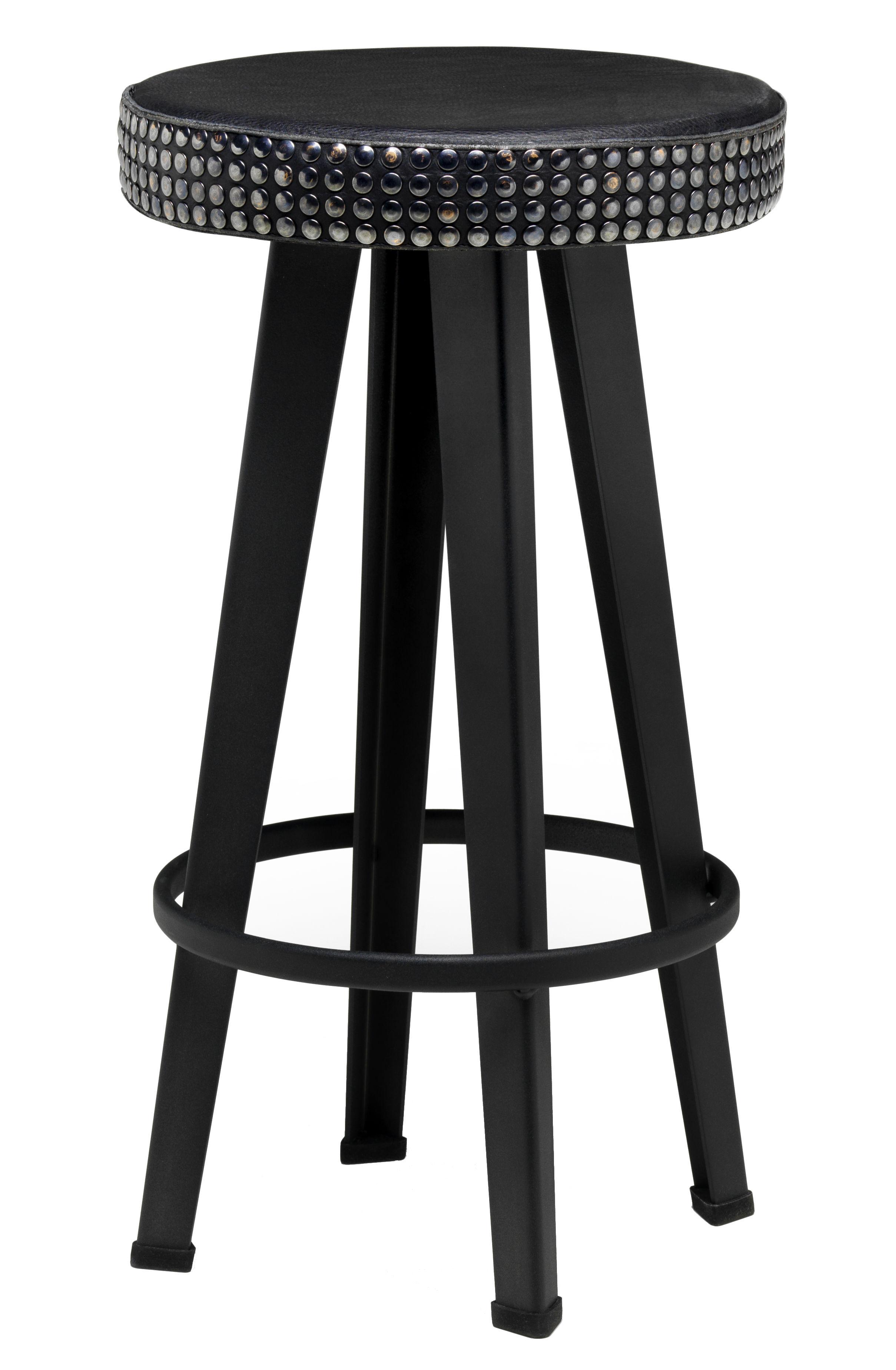 Mobilier - Tabourets de bar - Tabouret de bar Bar Stud / H 63 cm - Assise rembourrée cuir & métal - Diesel with Moroso - Noir - Acier laqué, Cuir