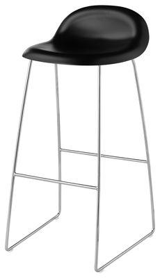 Tabouret de bar Gubi 3 / H 75 cm - Coque plastique - Gubi noir en matière plastique