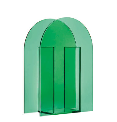 Decoration - Vases - Arch Large Vase - / H 26 cm - Glass by & klevering - Wide / Dark green - Tinted glass