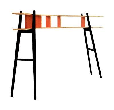 Mobilier - Etagères & bibliothèques - Bibliothèque Le Hasard incurvée à gauche - L 224 x H 153 cm - Smarin - Courbure gauche - Orange / Bois clair / Noir - Epicéa