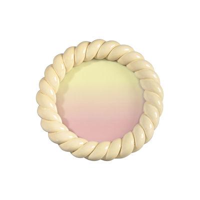 Cadre-photo Braid / Rond - Polyrésine / Ø 13.5 cm - & klevering jaune en matière plastique