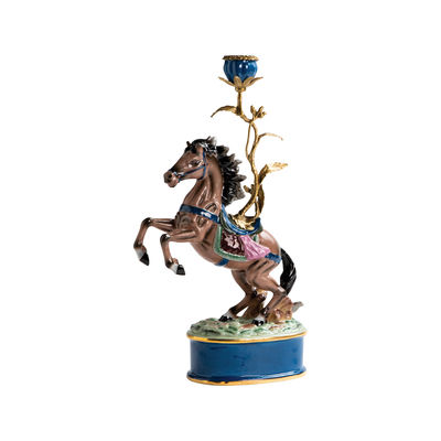 Decoration - Candles & Candle Holders - Cheval Candle stick - / Porcelain & brass H 41 cm by & klevering - Horse - Brass, China