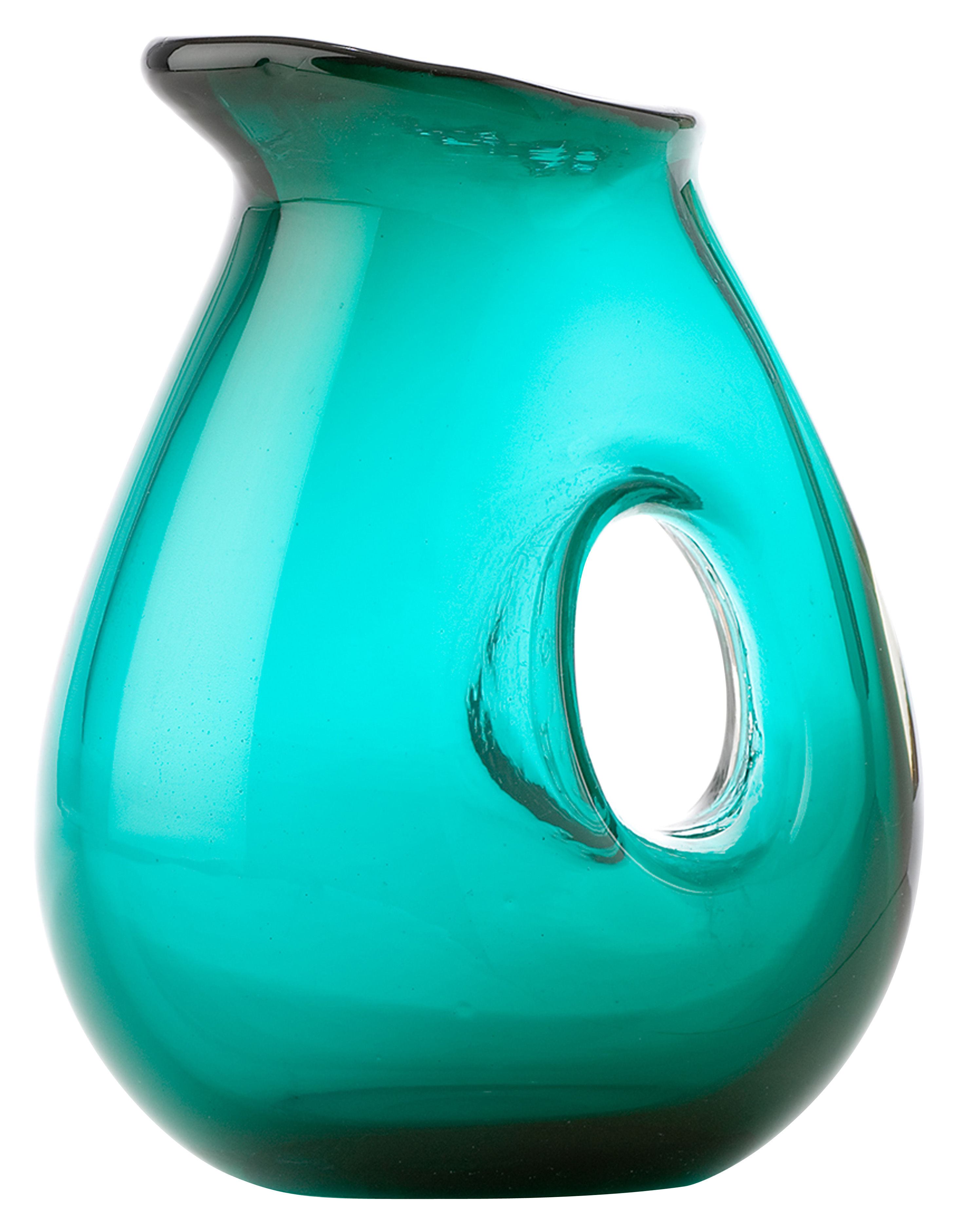 Tableware - Water Carafes & Wine Decanters - Jug with hole Carafe - 1 Liter by Pols Potten - Seagreen - Mouth blown glass