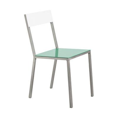 Mobilier - Chaises, fauteuils de salle à manger - Chaise Alu - valerie objects - Assise verte / Dossier blanc - Aluminium