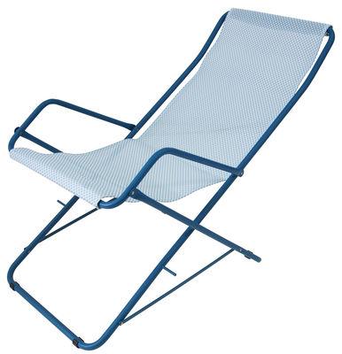 Chaise longue Bahama / Pliable - Emu bleu en métal/tissu