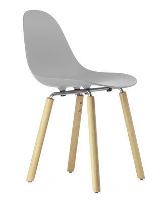 Mobilier - Chaises, fauteuils de salle à manger - Chaise TA / Pieds bois - Toou - Gris / Pieds bois naturel - Chêne naturel, Métal chromé, Polypropylène